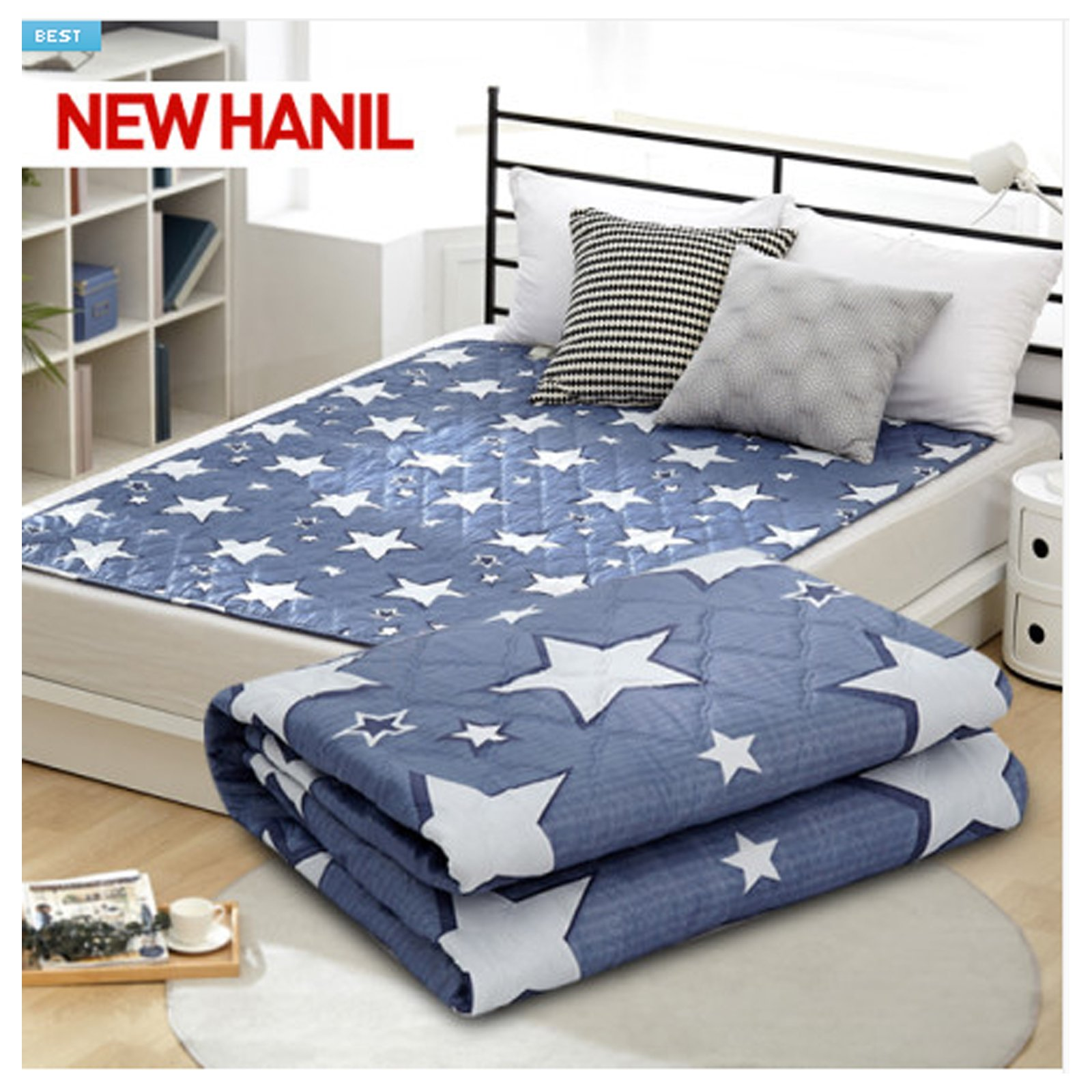 NEW HanIl Electric Heated Mat Warm Sheet Washable Heating Pad 220V (Double, Big Star_Blue)