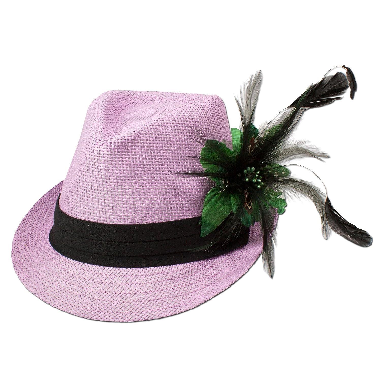 Alpenflüstern Damen Strohhut Trachtenhut rosa mit Feder-Clip ADV03100050 grün