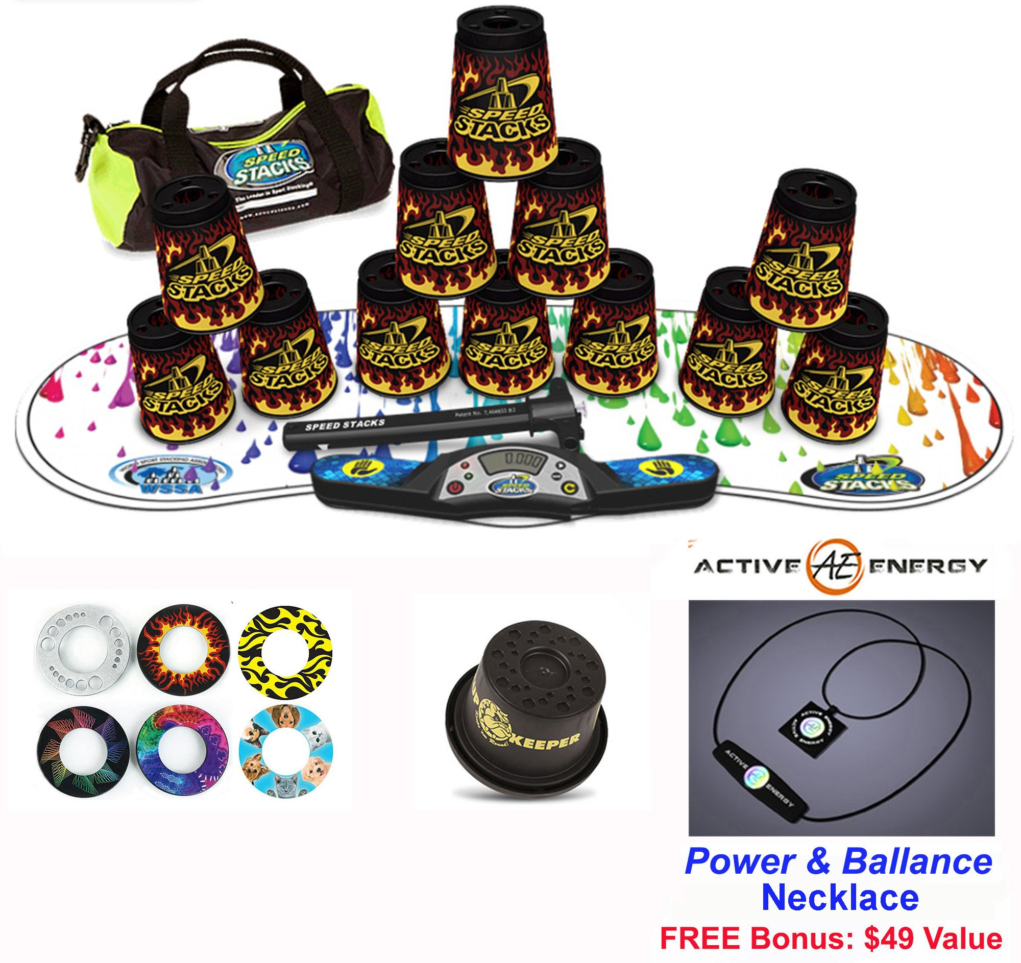 Speed Stacks Combo Set ''The Works'': 12 BLACK FLAME 4'' Cups, RAINBOW DROP Gen 3 Mat, G4 Pro Timer, Cup Keeper, Stem, Gear Bag + Active Energy Necklace by Speed Stacks