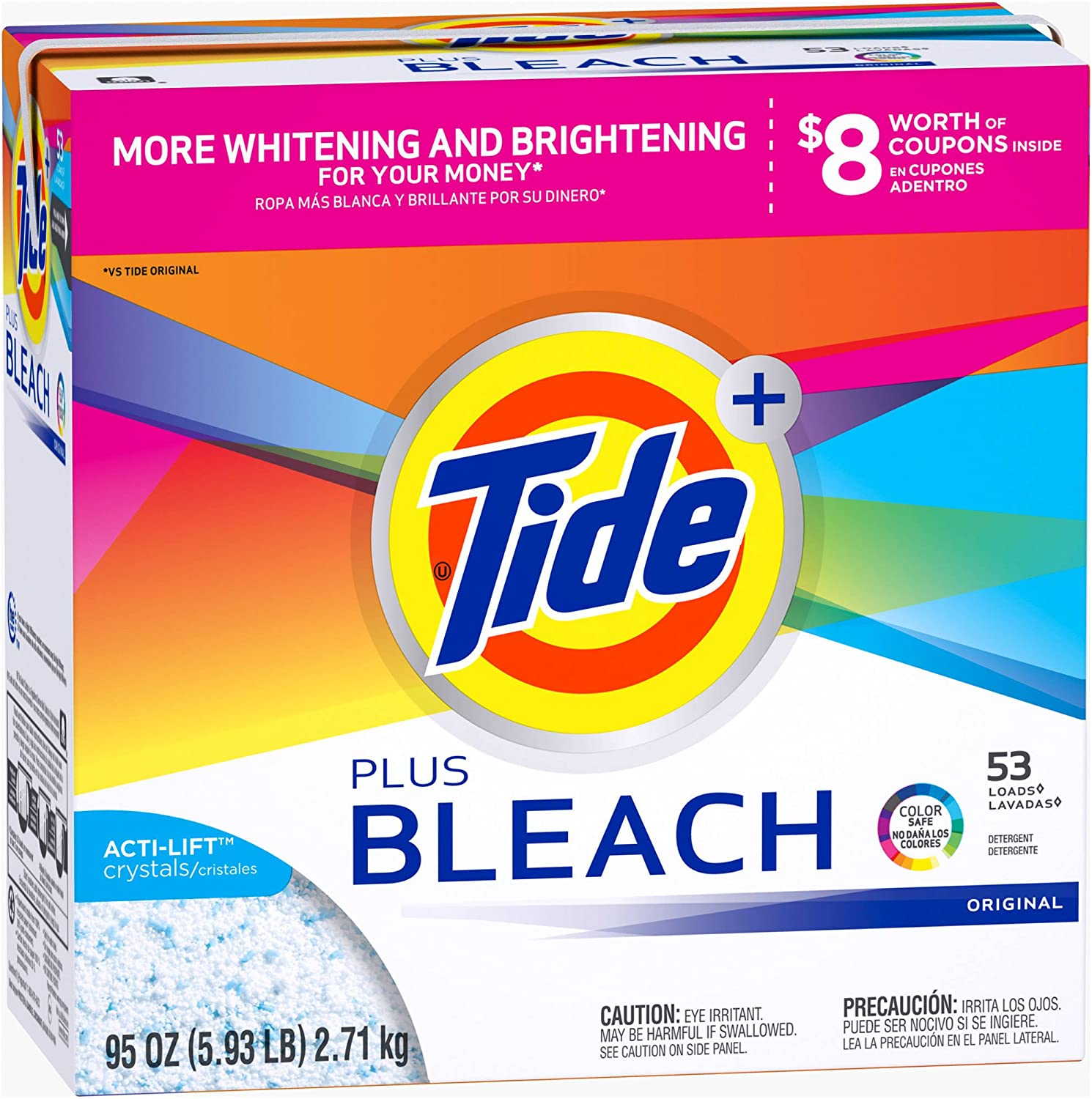 Tide Ultra Plus Bleach Original Scent Powder Laundry Detergent, 53 Loads, 95 oz