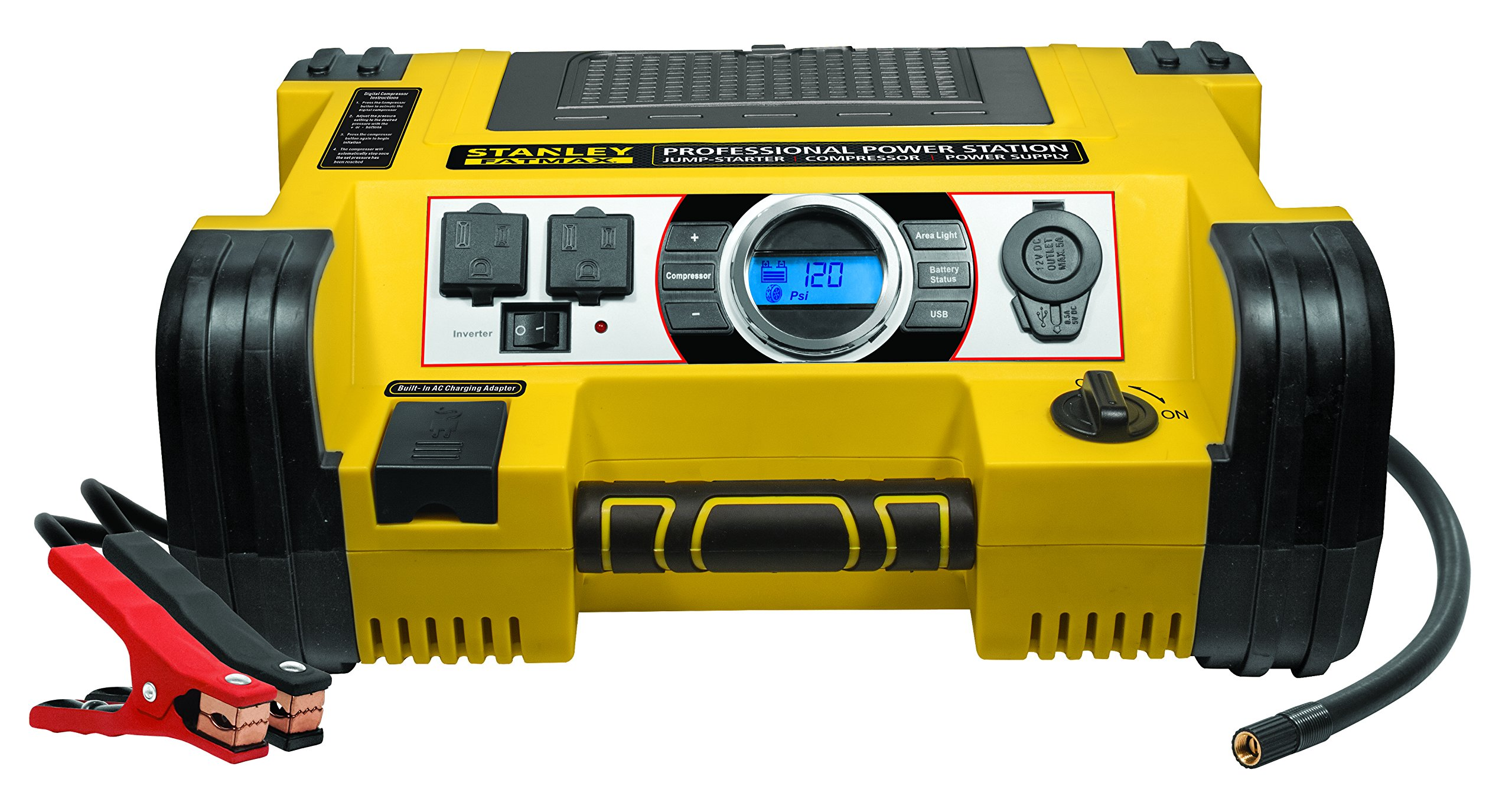 STANLEY FATMAX PPRH7DS Professional Power Station Jump Starter: 1400 Peak/700 Instant Amps, 500W Inverter, 120 PSI Air Compressor, Battery Clamps by STANLEY