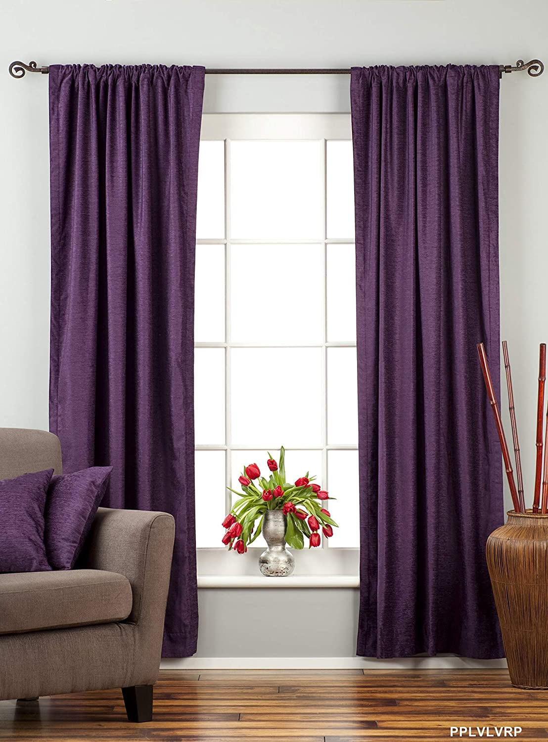 Buy Lined-Purple Rod Pocket Velvet Cafe Curtain/Drape - 43W x 24L - Piece  Online at Low Prices in India - Amazon.in