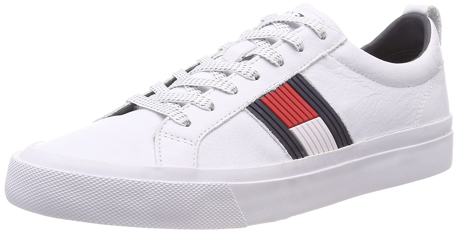 769b11d7da604 Tommy Hilfiger Men s Flag Detail Leather Sneaker Low-Top  Amazon.co.uk   Shoes   Bags