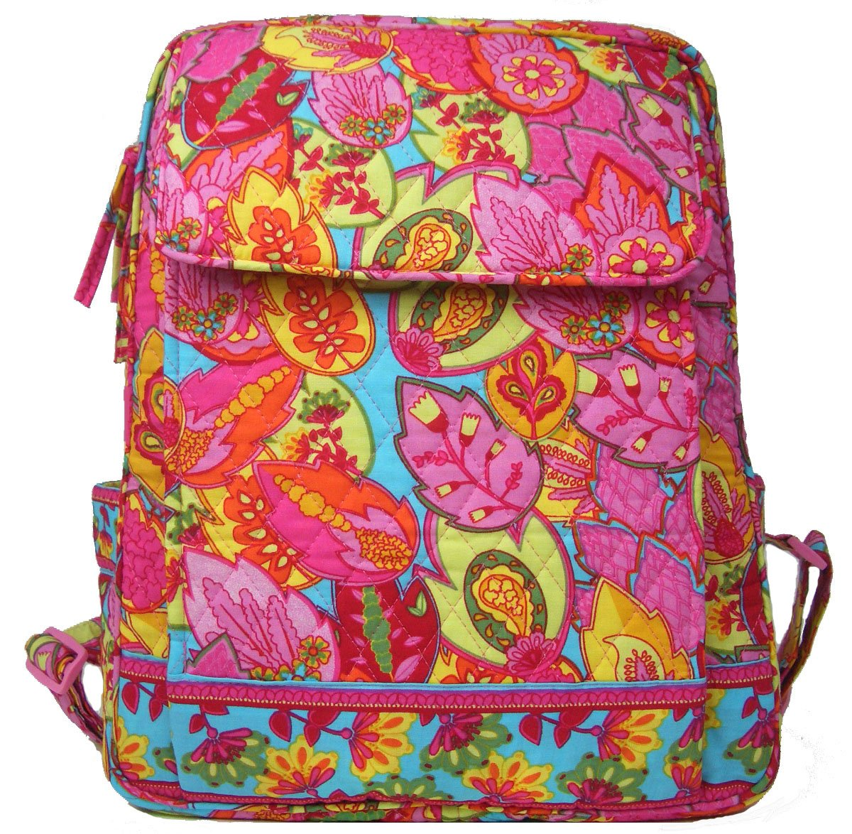 DIWI Large Backpack Campus Bookbag Schoolbag Laptop Backpack Quilted Cotton (Pink Turquoise)
