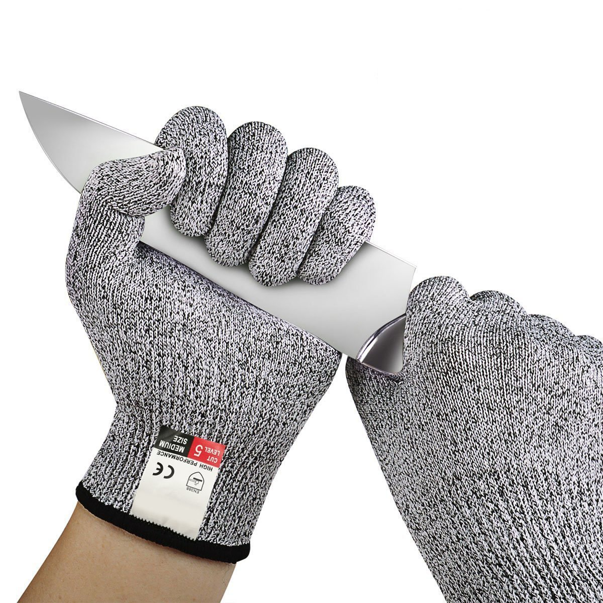 SAYGOGO Cut Resistant Gloves - High Performance Level 5 Protection, Food Grade. Size Medium