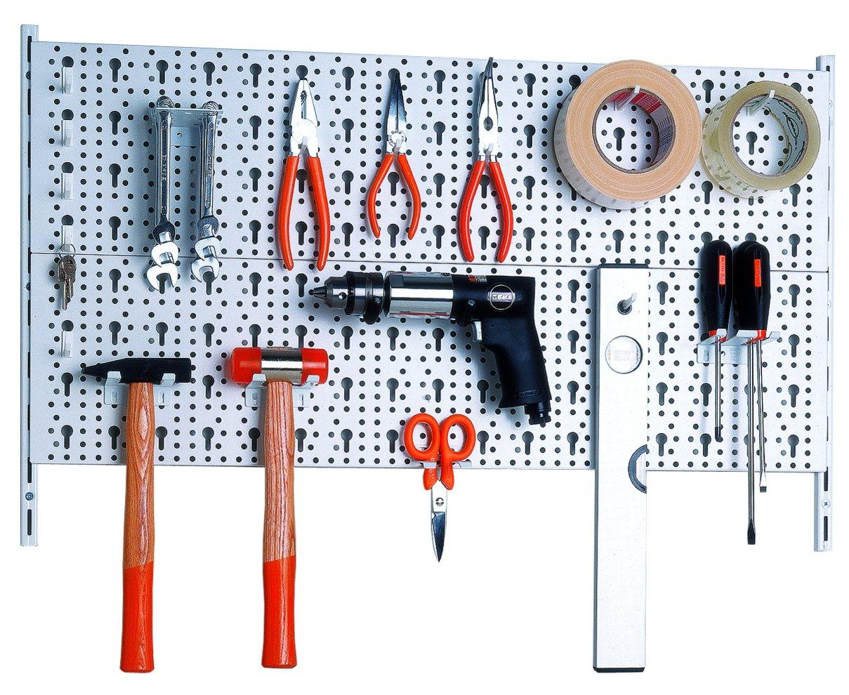 Element System Panel para herramientas de metal con juego de portaherramientas de 18 piezas incluyendo tornillos y tacos, panel perforado para guardar herramientas, blanco 11300-00000