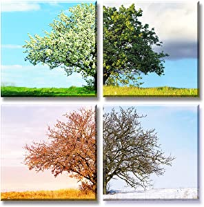 Nature Wall Art Tree Painting Picture Canvas Prints Spring Summer Autumn Winter Four Seasons Landscape Colorful Poster Modern Giclee Artwork Stretched and Framed for Living Room Bathroom Home Decor