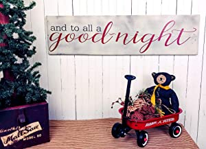 43LenaJon and to All a Goodnight Framed Christmas Decor Sign Wooden Signs for Christmas, Kids Holiday Decorations, TWAS The Night Before Christmas