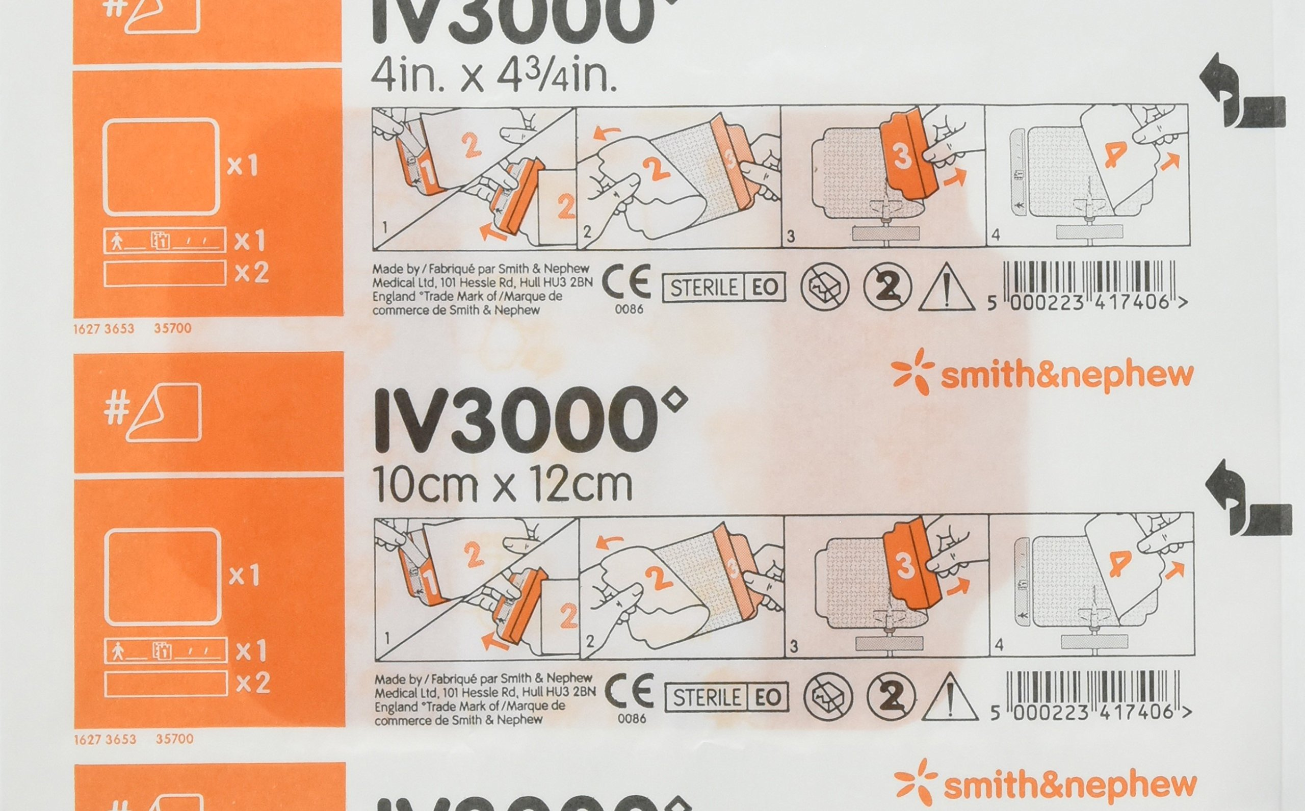 Smith & Nephew IV3000 Transparent Dressings 4 x 4 3/4 - Inch (Pack of 10)
