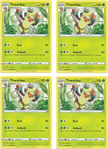Base SetPokemon Card Thwackey 013//202 UncommonSword /& Sheild