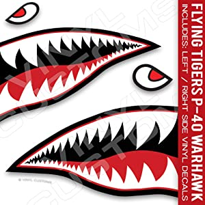 """Flying Tigers Decals Shark Teeth Stickers P-40 Warhawk (10"""" inches - 1 Pair)"""