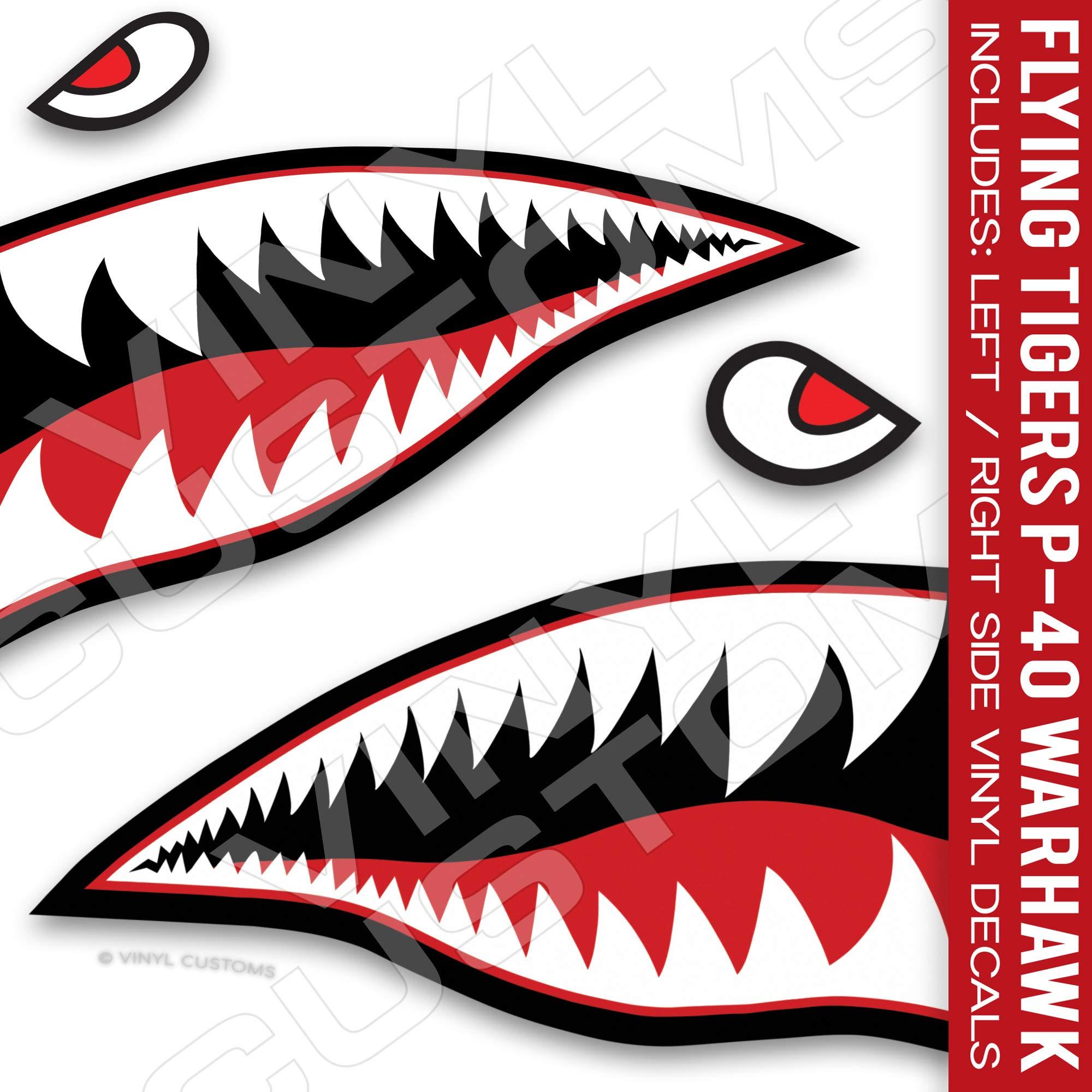 Flying Tigers Shark Mouth Teeth Die-Cut Vinyl Decals 50'' inches (1 Pair)