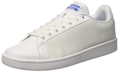 dd56cf18facad adidas neo Men s Cloudfoam Advantage Clean Ftwwht and Blue Leather Sneakers  - 10 UK India