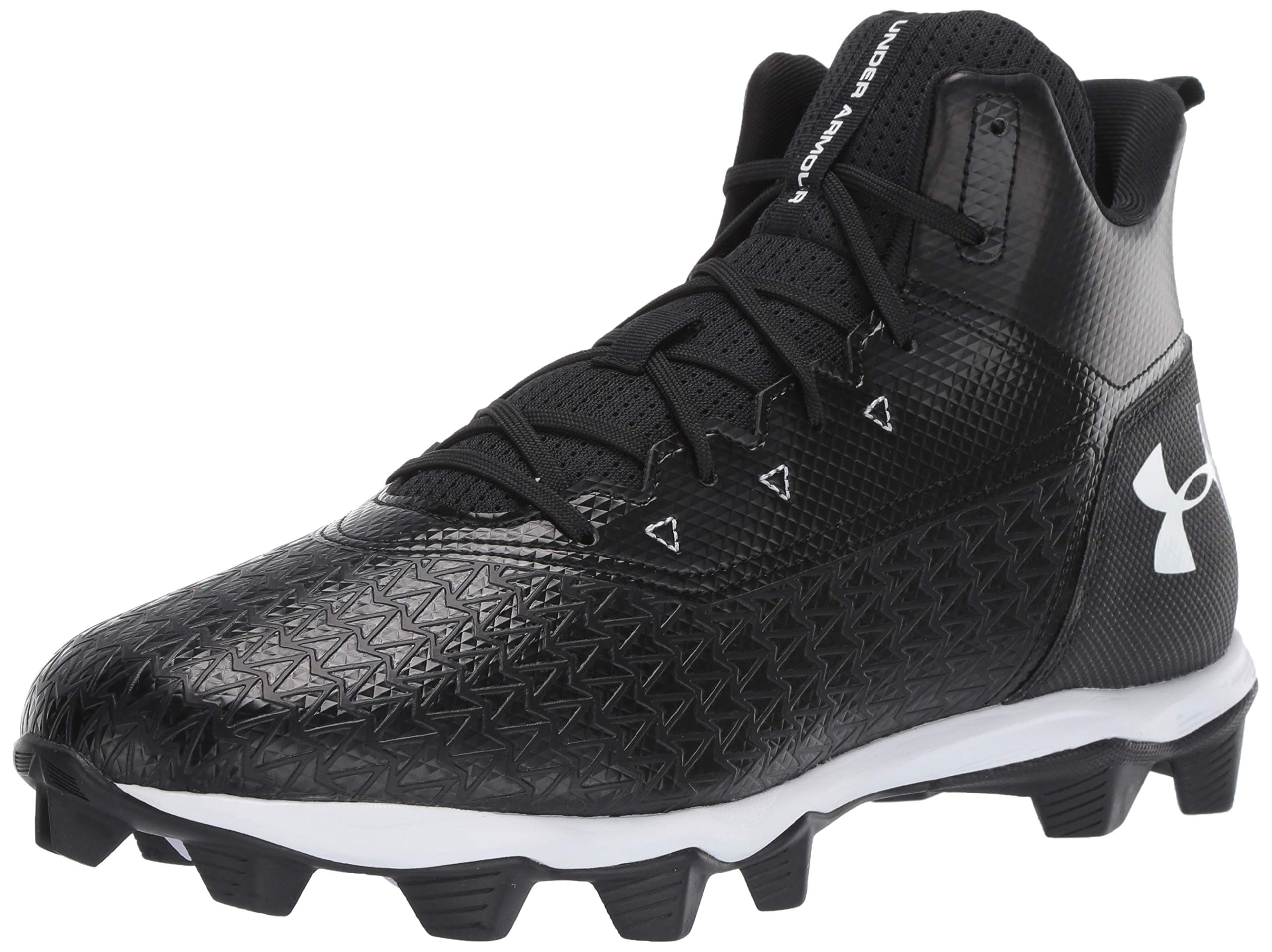 Under Armour Men's Hammer Mid RM Wide Football Shoe, Black (001)/White, 11 W US by Under Armour