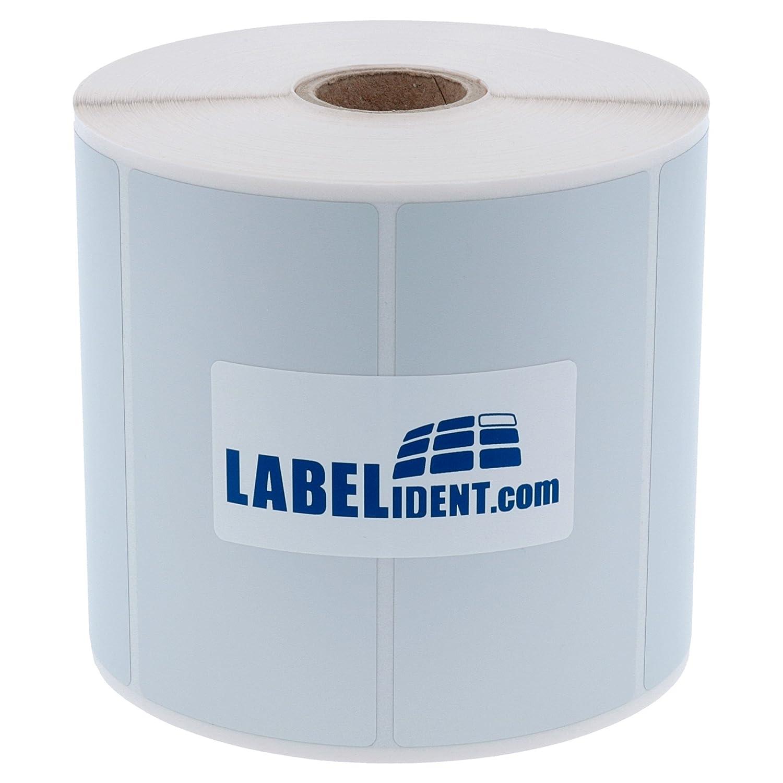 Labelident Polyesteretiketten - 105 x 52 mm - Polyester silber glänzend, permanent haftend, 1000 Etiketten auf Rolle mit 40 mm (1,57 Zoll) Rollenkern