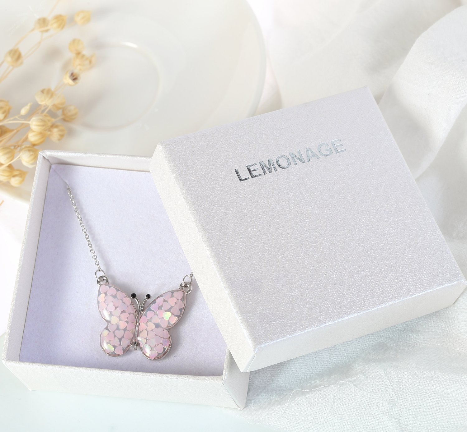 Lemonage Butterfly Necklaces for Girls Kids with Stunning Alloy Pendant Necklace, Children 3+ (Pink) by Lemonage (Image #7)
