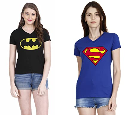 882d28e08 Women s Superman and Batman V neck T-shirts pack of 2  Amazon.in ...