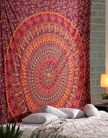Rajrang Hippie Mandala Tapestry Indiano Arancia Rosa Tappezzerie