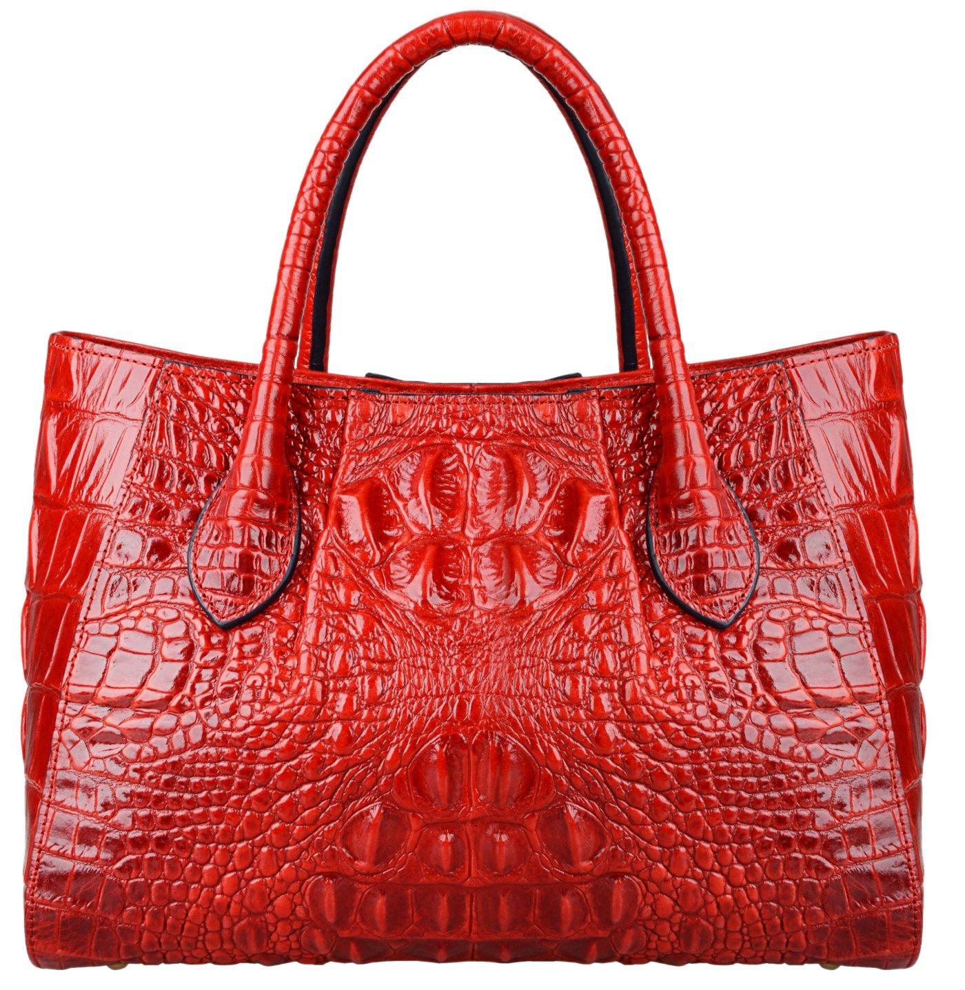 Pijushi Women Embossed Crocodile Bag Designer Top Handle Handbags 5002A (One Size, 5002A Red) by PIJUSHI