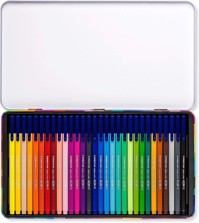 STAEDTLER Triplus Color 323 M30, Rotuladores de colores de punta fina multicolor, Estuche con 30 marcadores: Amazon.es: Oficina y papelería