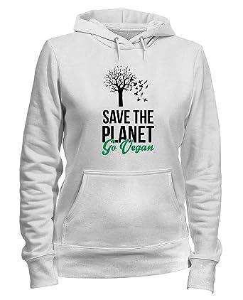 Sudadera con Capucha para Las Mujeras Blanca WES0305 Save The Planet GO Vegan: Amazon.es: Ropa y accesorios