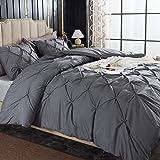 Andency Dark Grey Pinch Pleat Comforter King(104x90Inch), 3 Piece(1 Pintuck Comforter, 2 Pillowcases) Gray Pintuck Microfiber