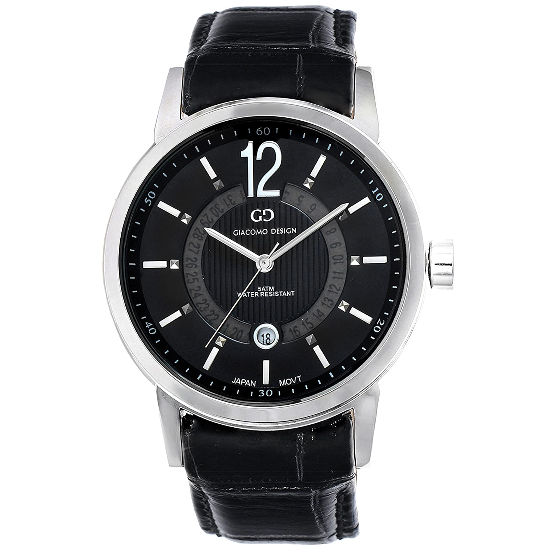 Giacomo Design GD05003 Herren-Armbanduhr Lederband Datum