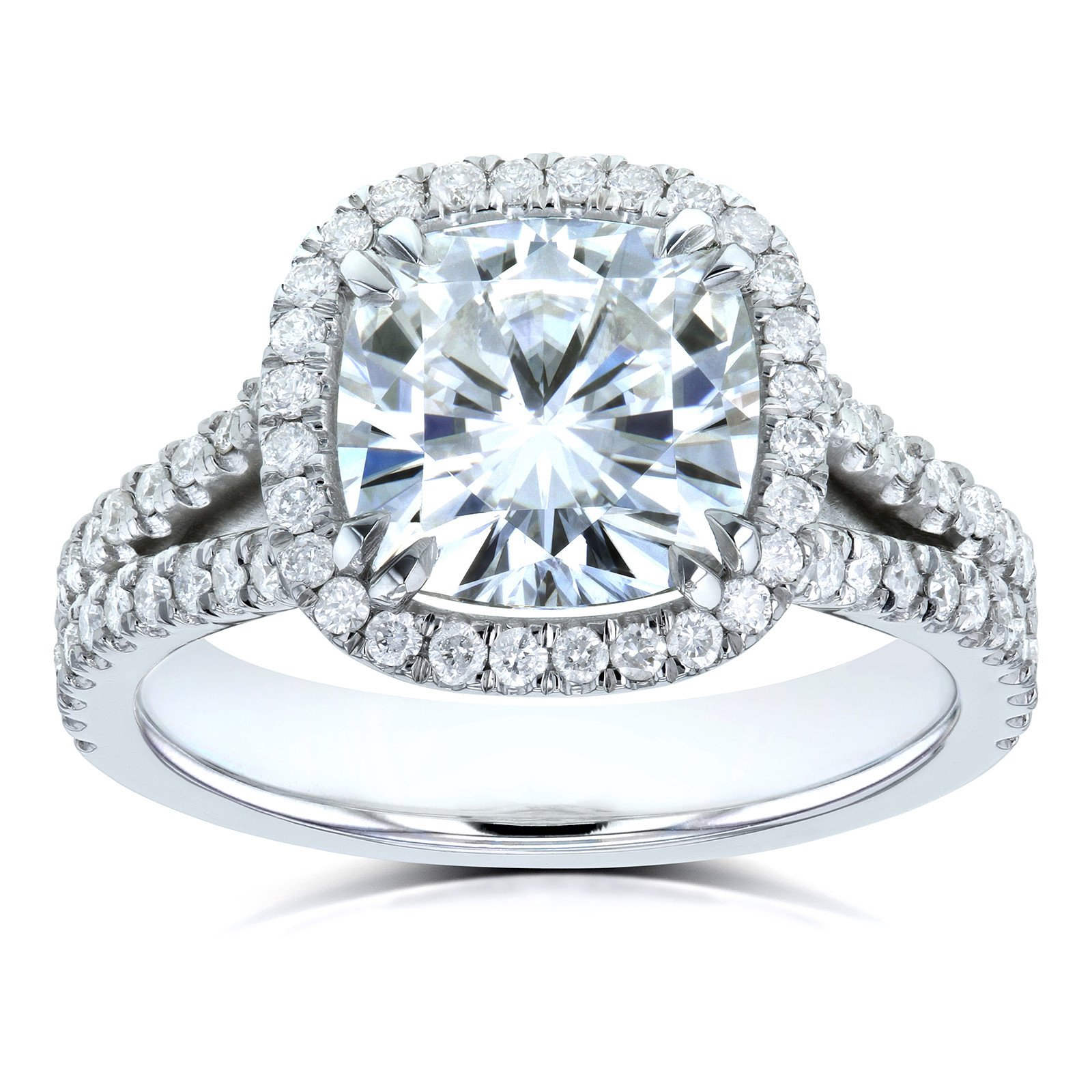 Cushion D-E-F Moissanite with Diamond Split Shank Halo Engagement Ring 3 1/3 CTW 14k White Gold, 7