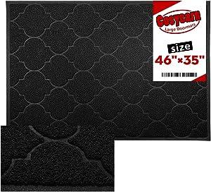 Large Door Mats,46x35 Inches XL Jumbo Size Outdoor Indoor Entrance Doormat, Waterproof, Easy Clean, Entryway Rug,Front Doormat Inside Outside Non Slip (Black)