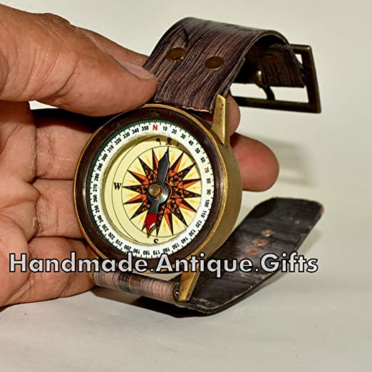 Wrist Compass Brass Nautical Magnetic Navigation Maritime Hiking Outdoor Travel