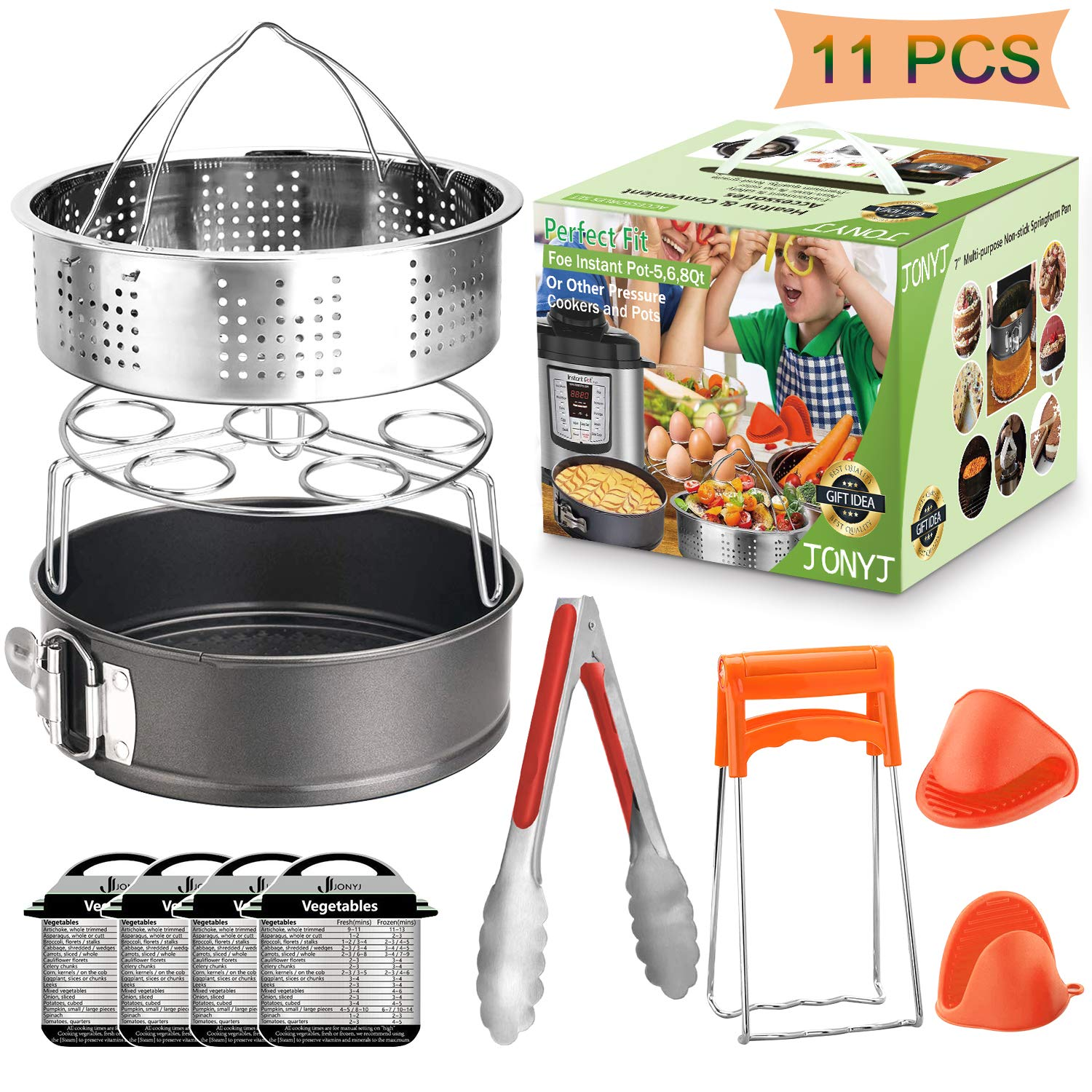 Instant Pot Accessories Set, 11-Piece Fit 5, 6, 8 Qt Instant Pot Accessories Compatible with Steamer Basket, Egg Rack, Springform Pan, Food Tong, Oven Mitts, Magnetic Cheat Sheets by JONYJ by JONYJ