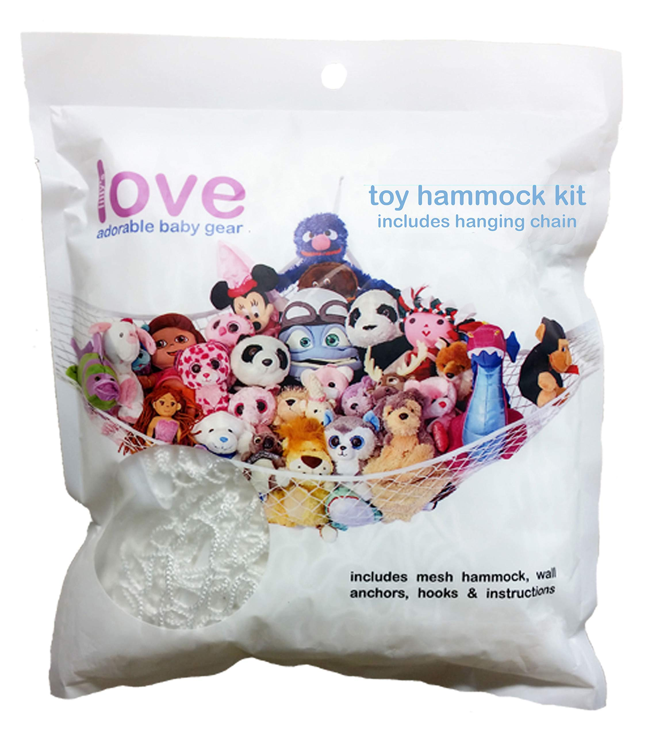 Lilly's Love Stuffed Animals Storage Chain and Hammock Kit Includes Chain & Hammock, Plastic Chain 60 inch + 20 Strong Clips & Hardware by Lilly's Love