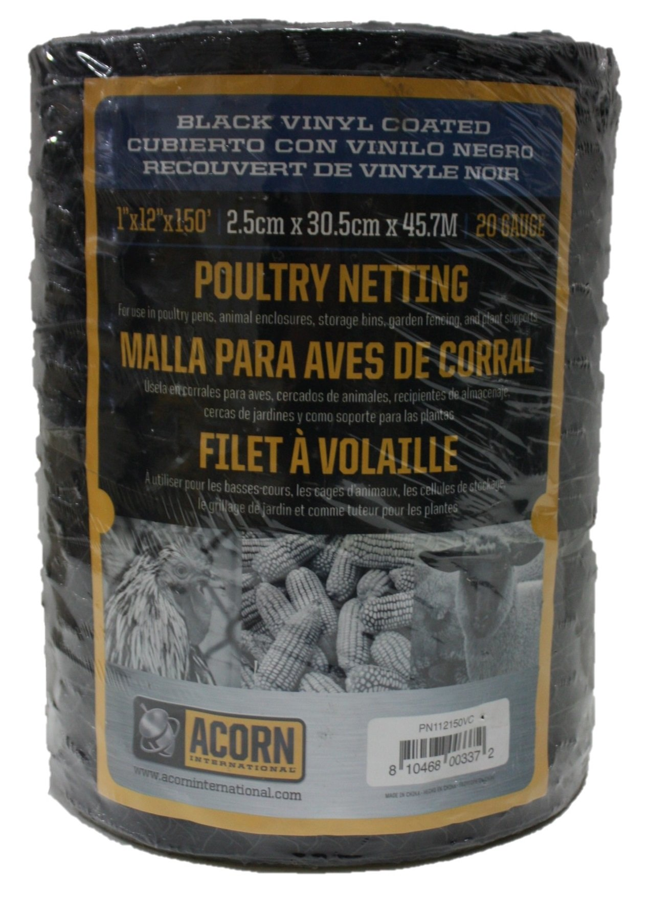Acorn International PNVC112150 Vinyl Coated Poultry Netting, 1'' x 12'' x 150'