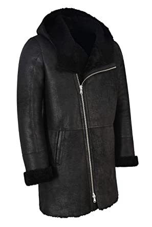 Men's B3 Flying Sheepskin Shearling Coat Vintage Black Fur