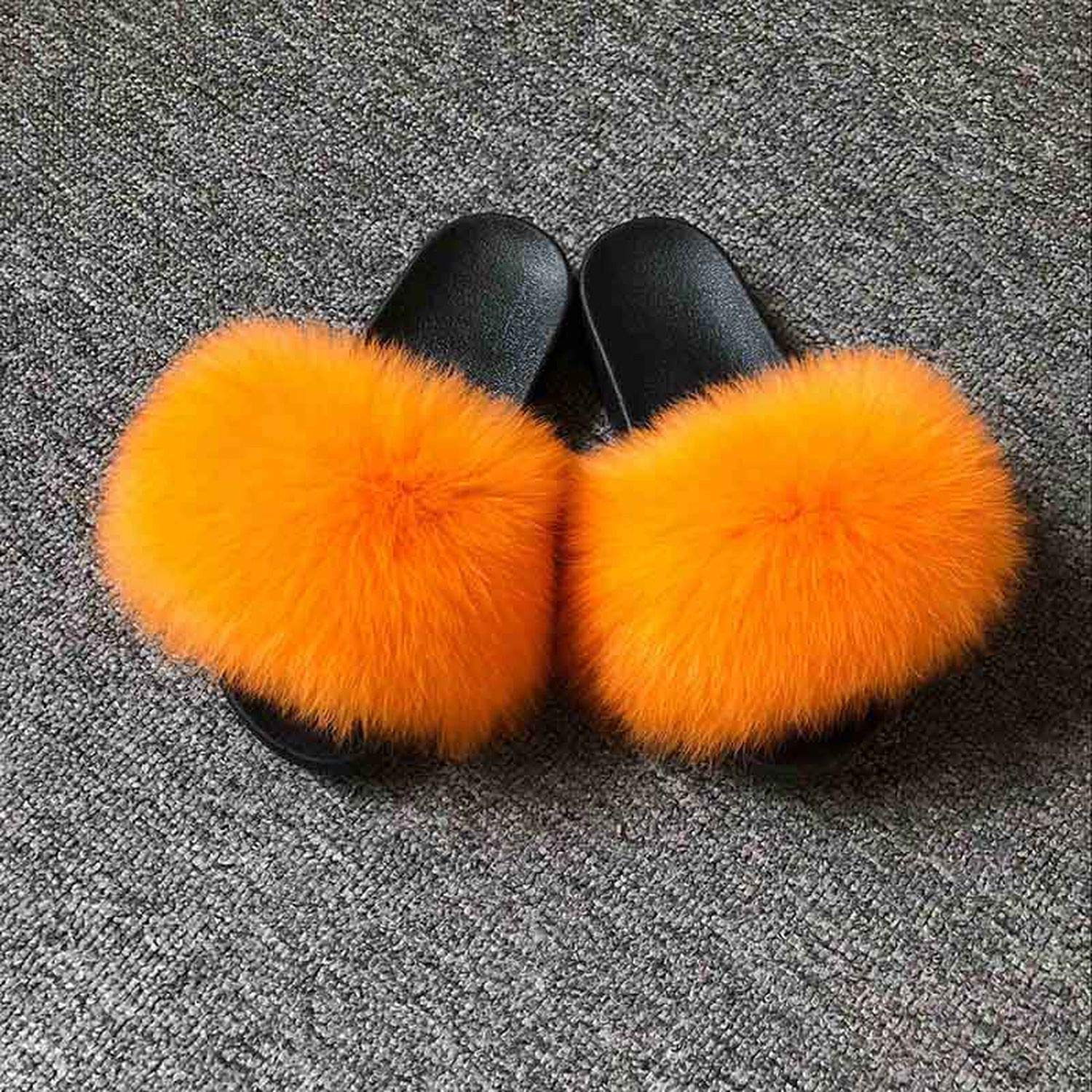 orange Blingbling-honored High end Real Fox Fur Slipper Women Slides Sliders Fashion Spring Summer Autumn Fluffy Fur Lady S6018