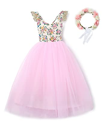 3d89b6bcb aibeiboutique Pink Baby Girls Floral Dress Vintage Tulle Flower Lace  Wedding Party Toddler Costume with Headband