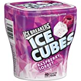 ICE BREAKERS ICE CUBES Chewing Gum, Raspberry Sorbet Flavor, Sugar Free, 40 Piece Cube Pack Container (Count of 4)