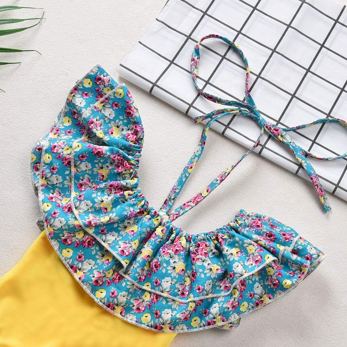 Girls Ruffle Off Shoulder One Piece Swimsuit Hawaiian Beach Sport Banded Bathing Suit Set Swimwear for 6M-10T