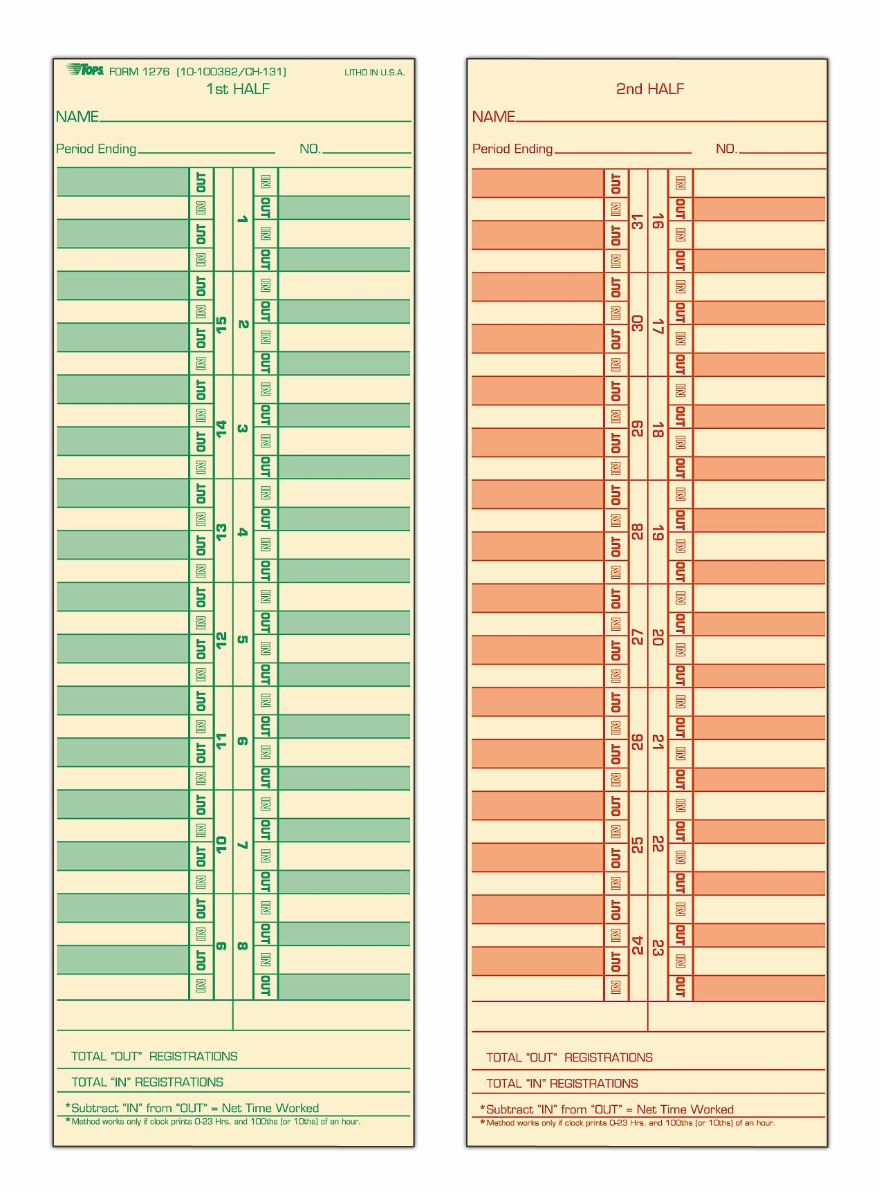 TOPS Time Cards, Semi-Monthly, 2-Sided, 3-1/2'' x 10-1/2'', Manila, Green/Red Print, 500-Count (1276)