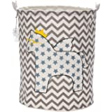 Sea Team Foldable Large Cylindric Cute Pony Fabric Storage Bin Storage Basket Organizer for Kid's Room Toy Storage, Laundry Hamper for Blouse T-shirt Underwear etc., Style 2