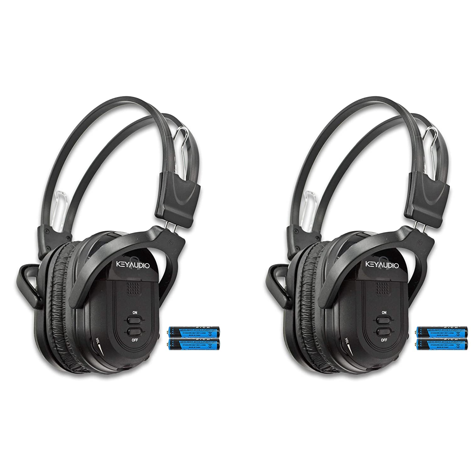 e2c707f8c83 Key Audio 2 Pack of Two Channel Folding Universal Rear Entertainment System  Infrared Headphones Wireless IR DVD Player Head Phones for in Car TV Video  Audio ...