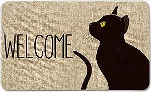 Artoid Mode Black Cat Welcome Decorative Doormat, Pet Halloween Floor Mat Switch Mat for Indoor Outdoor 17 x 29 Inch