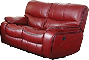 Homelegance Pecos Leather Gel Manual Double Reclining Love Seat, Red