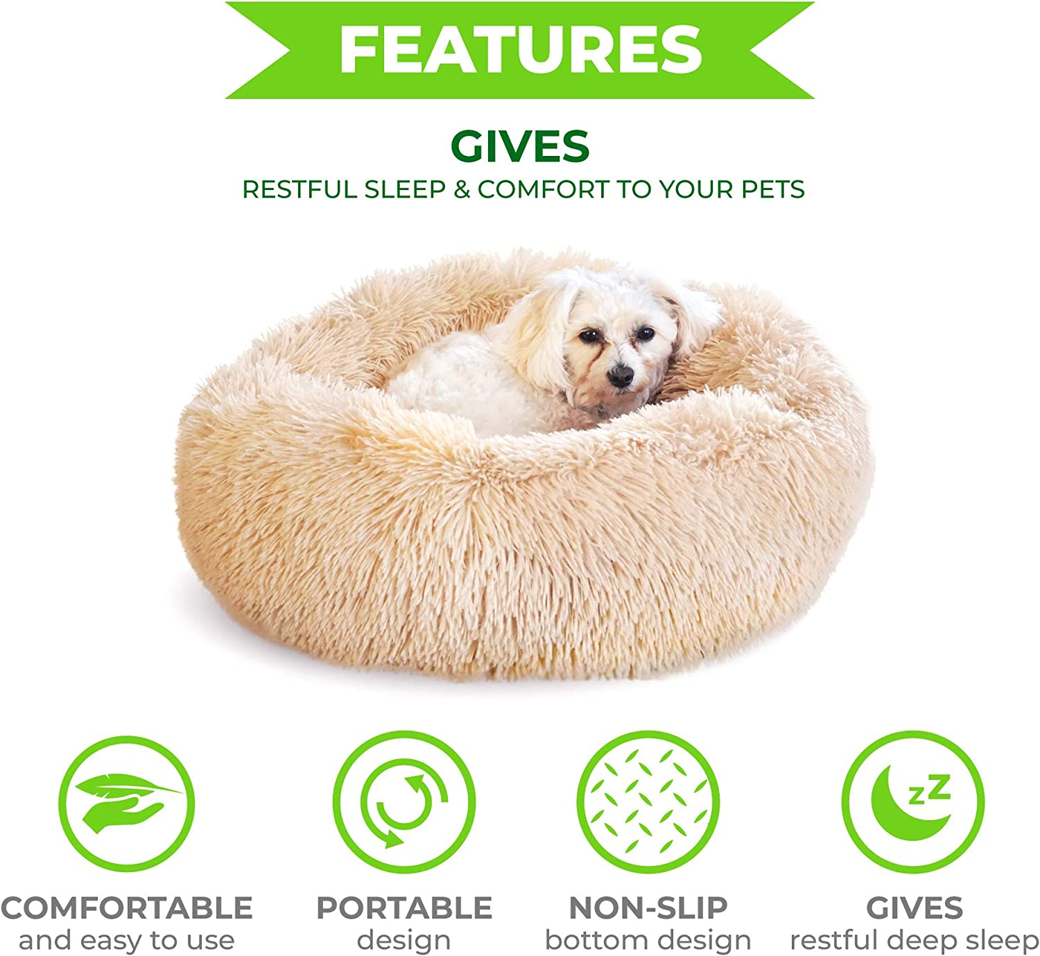 Whiskers & Friends Cat Dog Bed Calming Soft Plush Faux Fur Shag Donut Comfort Cuddler Improve Sleep - Up to 25 Pounds - Gentle Delicate Wash, Air Delicate Dry (Navy-Gray) : Pet Supplies