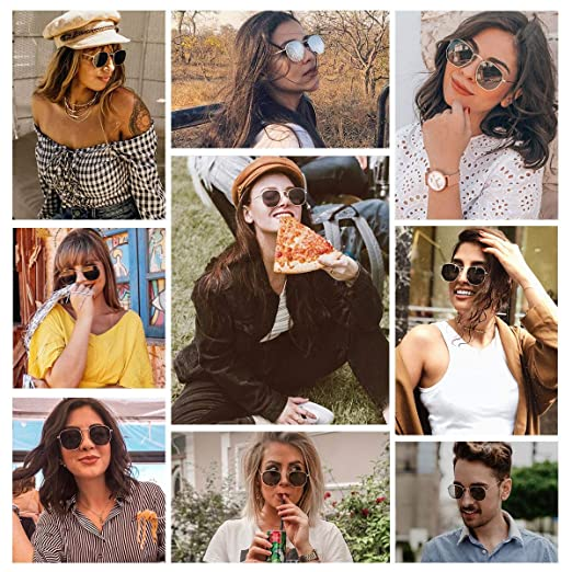 Small Square Polarized Sunglasses for Women Polygon Mirrored Lens