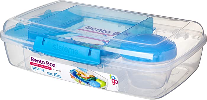 Sistema To Go Collection Large Bento Box Plastic Lunch and Food Storage Container, 7.4 Cup, Multi Compartment, Color Varies | BPA Free
