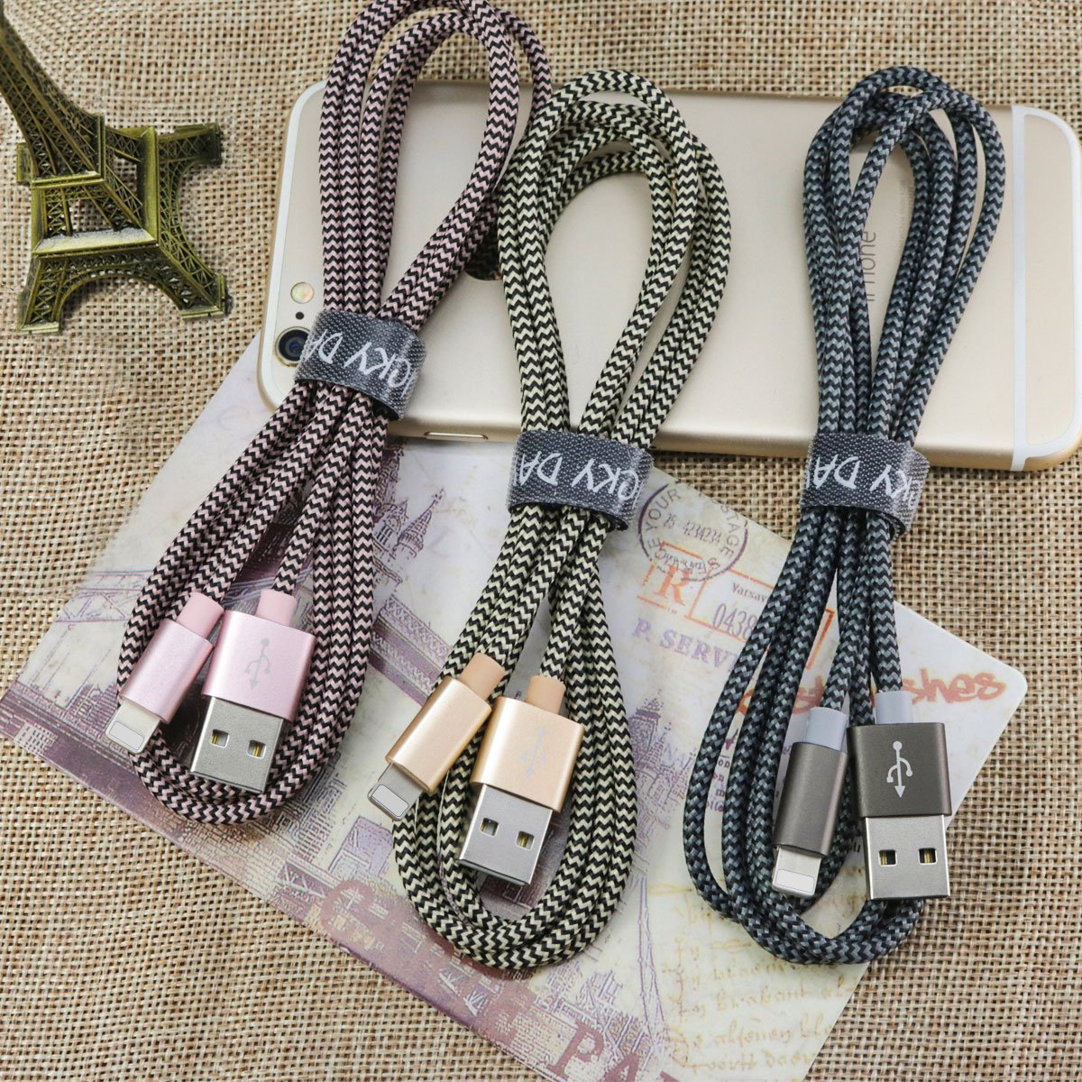 Phone Cable – Becaso 3 Packs 5ft/1.5m Nylon Braided Charging Cable Compatible with Phone Xr/X/8/8 Plus/7/7Plus, Phone 6s Plus/6s/6 Plus/6, Phone 5/5s/5c, Pad, Pod and More (Gold, Pink, Grey)