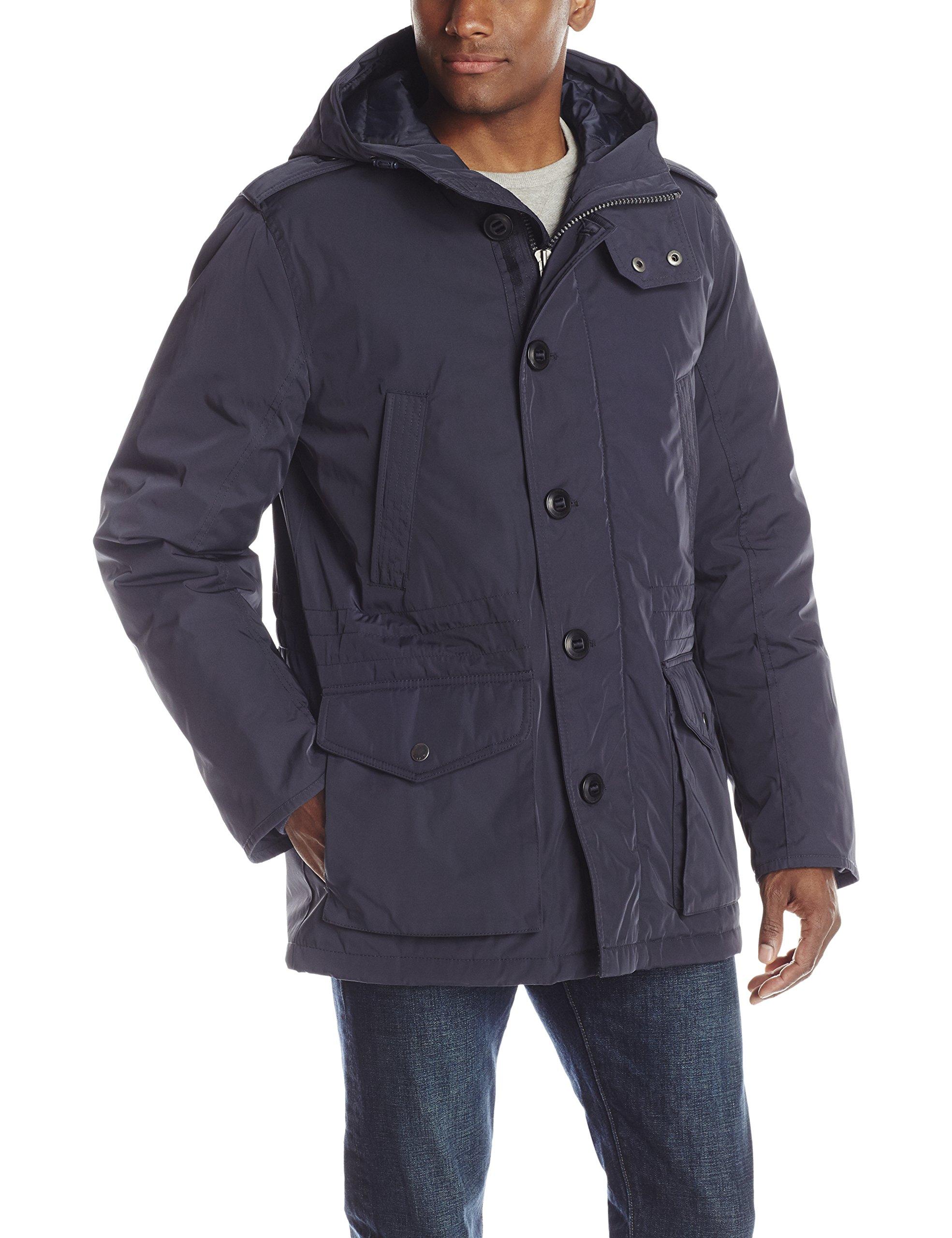 Tommy Hilfiger Men's Poly Twill Full Length Hooded Parka, Navy, Medium