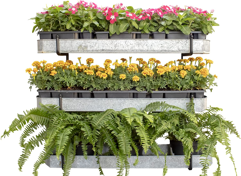 Benarr Vertical Wall Planter, Garden Metal Rack, Galvanized Trays, Herbs Planter, Flowers Stand Pots, Patio Garden Decor, Balcony Garden, Fence Decoration Outdoor.