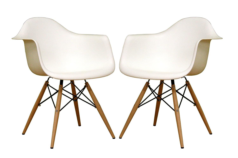 Genial Amazon.com: Baxton Studio Fiorenza White Plastic Armchair With Wood Eiffel  Legs, Set Of 2: Kitchen U0026 Dining